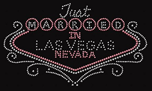 Just Married in Vegas Rhinestone Iron on Transfer (Crystal and Pink Rhinestoness)