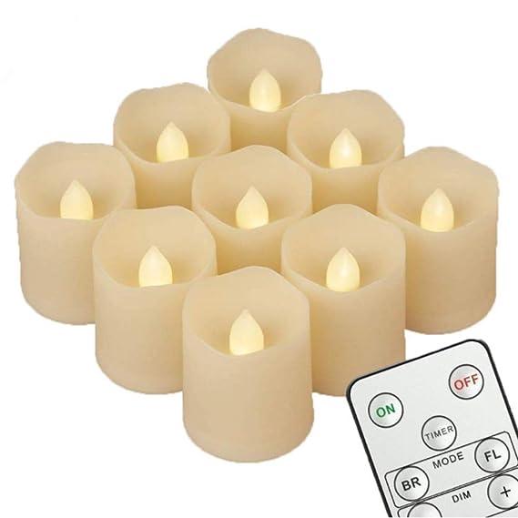 9 velas LED [temporizador, mando a distancia y pilas] - 3 ...