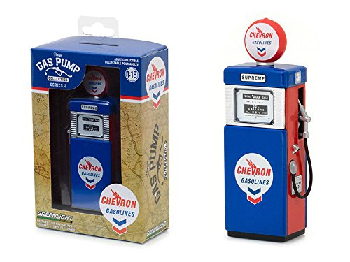 Greenlight 14020-A Vintage Gas Pumps Series 2  Blue 1951 Wayne Pump 505 Chevron Supreme 1:18 Scale