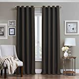 Eclipse Blackout Curtains Eclipse Wyndham Grommet Brushed Nickel Blackout Window Curtain Panel, 84-Inch, Charcoal