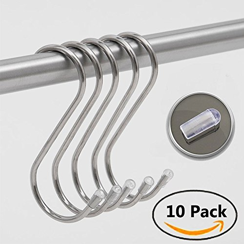 Extra Large Hanging (S Shape Hooks Extra Large Heavy Duty Hanging Stainless Steel,Kitchen, Bathroom, Plant, Gardening Tools,Wardrobe, Multifunctional,Hanger Bearing Up to 30KG (10 Pack))