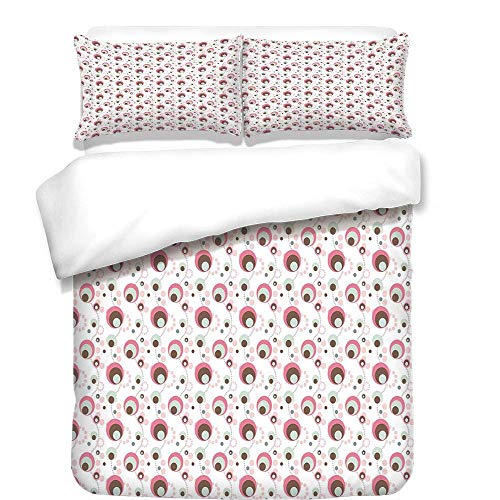 - VAMIX 3Pcs Duvet Cover Set,Geometric,Dotted Pattern Absurd Modern Artwork Circles Various Shapes and Sizes Retro Decorative,Pink Umber Beige,Best Bedding Gifts for Family/Friends,