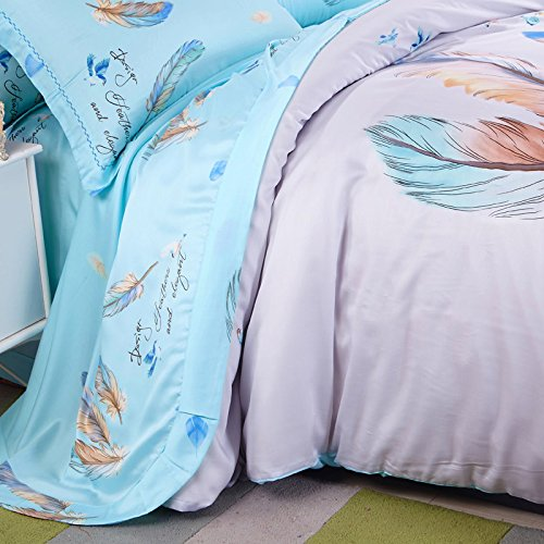 DHWM-The spring and summer ultra soft bare bedroom duplex pure tin wire 4 piece set, bed linen, a reactive printing bedding ,1.5m