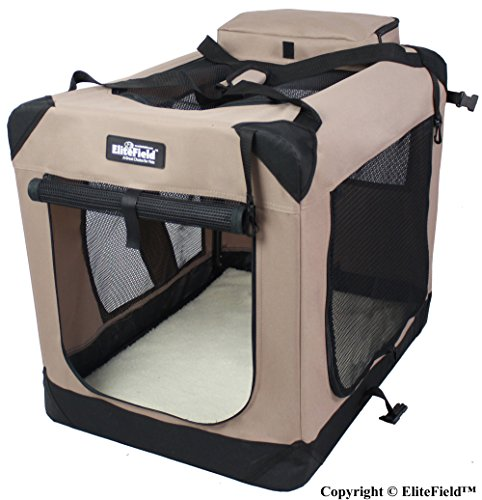 EliteField 3-Door Folding Soft Dog Crate, Indoor & Outdoor Pet Home, Multiple Sizes and Colors Available (30'L x 21'W x 24'H, Khaki)