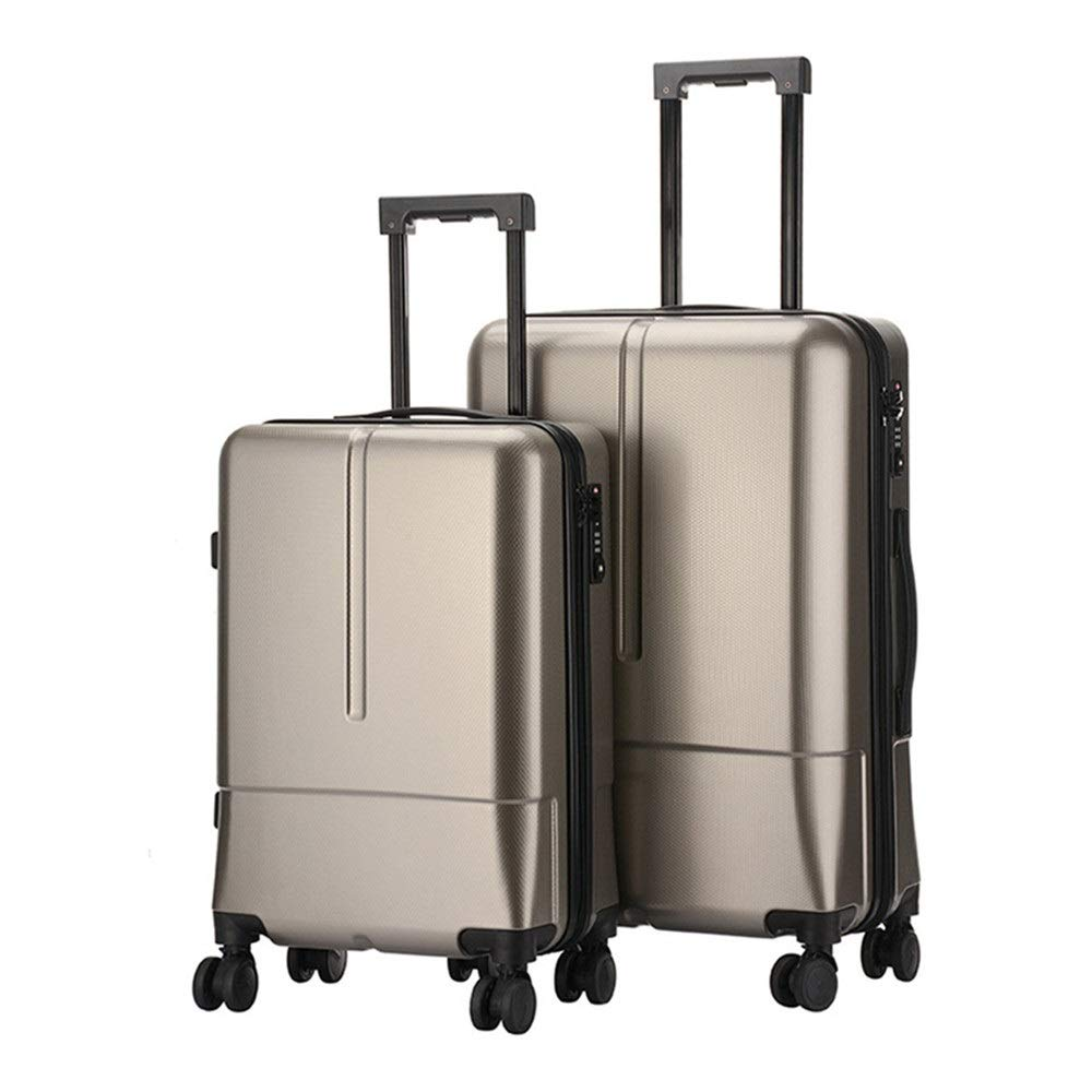 スーツケース ネスト回転子セット防水ストラップTSAロックポータブルハードシェルライトポータブルベルトコラムサイレントローテーター多方向ホイール男性と女性旅行航空機搭乗 あなたとスーツケースを持っていく (色 : ゴールド, サイズ : 20in+24in) B07SYNTYT6 ゴールド 20in+24in