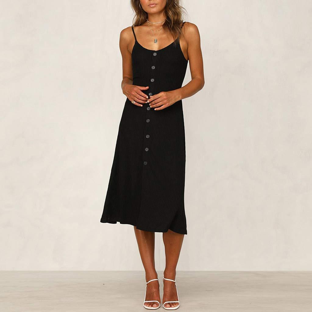yoyorule Casual Summer Dress Women Summer Casual Sleeveless Button Knee Length Party Dress Sundress