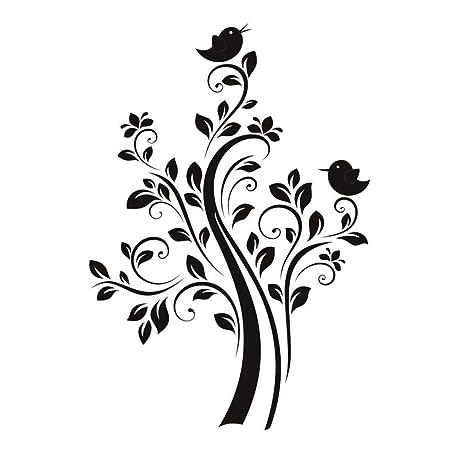 Etiqueta de la pared de la planta de la naturaleza DIY Dos pájaros ...