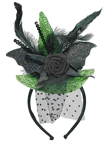 Green Witch Hat Headband (Deluxe Mini Witch Hat Headband [H3512528A])