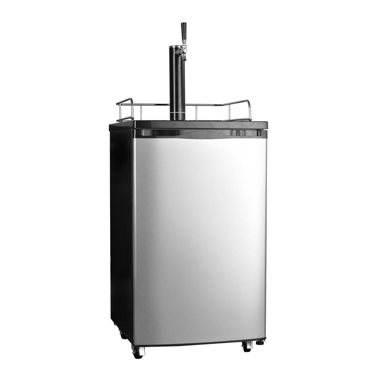 SMETA Freestanding Draft Beer Dispenser with Beer tower Beer keg cooler refrigerator 4.9 cu ft,Stainless steel
