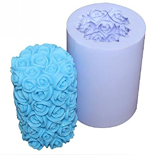Creativemoldstore 1pcs 3D Rose Pillar (LZ0088) Silicone Handmade Candle/Soap Mold Craft DIY Mould
