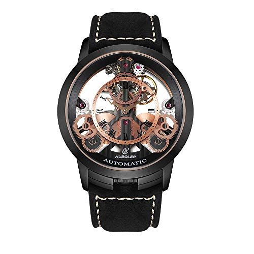Huboler Men's Watch Skeleton Automatic Mechanical Stainless Steel Wrist Watches with Leather Strap (Model: 748) (All Black)