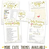 Baby Shower Games - Gender Neutral | 5 Activities for 50 Guests, 5x7 Cards | Baby Predictions, Baby Bingo, Emoji, Advice, Mommy or Daddy | Gender Reveal Party Supplies Favors Decorations