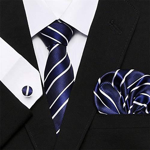 Tie Mens Tie Skinny Blue palid 100% Silk Classic Jacquard Woven Extra long Tie Hanky Cufflink Set For Men Formal Wedding Party