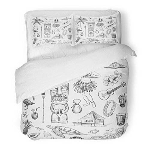 SanChic Duvet Cover Set Green Tiki Hawaii Collection Sketches Pictures on White Doodle Girl Decorative Bedding Set 2 Pillow Shams King Size by SanChic