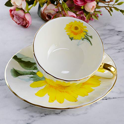 ACOOME Tea Cup with Saucer Sets 6.8oz Vintage Bone China Sunflower Tea Cup