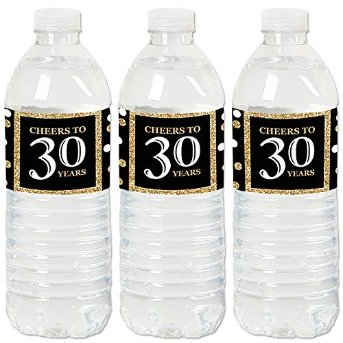 Adult 30th Birthday - Gold - Birthday Party Water Bottle Sticker Labels - Set of ()