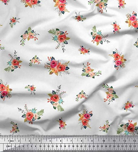 - Soimoi White Cotton Voile Fabric Leaves & Peony Floral Print Fabric by Yard 56 Inch Wide