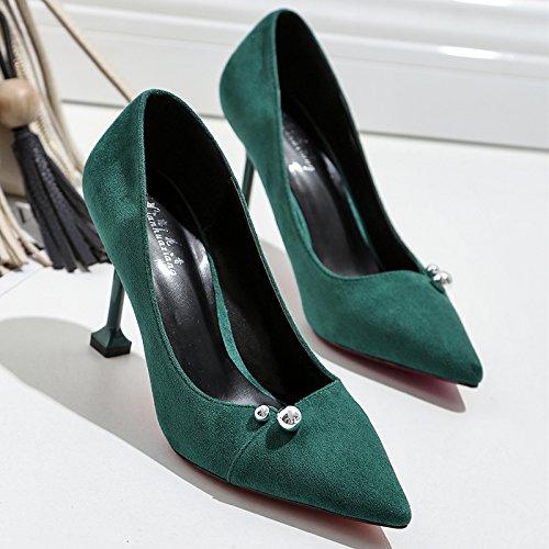 Zapatos zapatos de tacón cm satin los 9 wild con negra solo bien alto mujer de Punta Esmeralda luz 34 de zapatos la zapatos ocupacional 4SAwxqpU