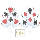 Andaz Press Bulk High Quality Latex Balloon Party Kit with Gold Cards & Gifts Sign, Casino Bingo Cards Suite Hearts Club Diamond Spade Printed 11-inch Balloons, Wholesale 50-Pack
