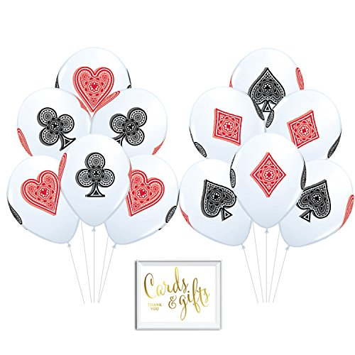 (Andaz Press Bulk High Quality Latex Balloon Party Kit with Gold Cards & Gifts Sign, Casino Bingo Cards Suite Hearts Club Diamond Spade Printed 11-inch Balloons, Wholesale 50-Pack)