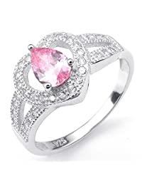 Konov Jewelry 925 Sterling Silver Cubic Zirconia Classic Heart Womens Ring, Pink Silver