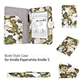 Amazon Kindle Paperwhite Case Camouflage Army Green - Slim Folio PU Leather Smart Cover Stand for Amazon All-New Kindle Paperwhite (Both 2012 and 2013 versions) with Auto Sleep Wake Feature and Stylus Holder