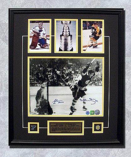 Bobby Orr Merchandise (Bobby Orr vs Glenn Hall Dual Autographed Stanley Cup Goal Photo 27x23 Frame LE #/70)