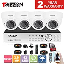 TMEZON 8CH AHD 1080P System CCTV Cameras Surveillance Security System 4x 2.0MP Night Vision Outdoor 2.8mm-12mm Zoom Lens AHD Camera 2TB HDD