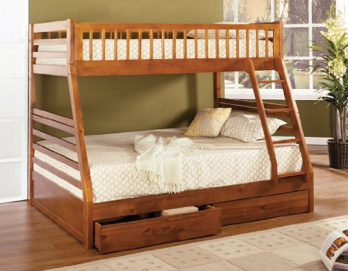 California II Oak Wood Finish Mission Style Twin over Full Bunk Bed with Front Access Ladder with 2 Under bed Drawers by FOA