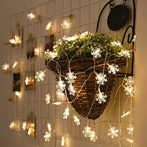 String Lights LED Fairy Lights Plugging in Waterproof for Xmas Garden Patio Bedroom Party Decor Indoor Outdoor Celebration Lighting (Snowflake,Warm White)