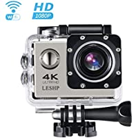 Action Camera, 16 MP 4K Full HD 1080P WiFi Waterproof Mini Sport Cam with 170 Wide-Angle Lens, 2.0 Inch LTPS Screen and Detachable Rechargeable Battery (Silver)