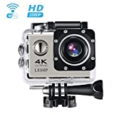 Action Camera, 16 MP 4K Full HD 1080P WiFi Waterproof Mini Sport Cam with 170 Wide-Angle Lens, 2.0 Inch LTPS Screen and Detachable Rechargeable Battery (Black, Double screen)