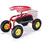 MD Group Garden Cart Utiltity Wagon Red Heavy Duty Tool Tray Adjustable Height Weather Resistant