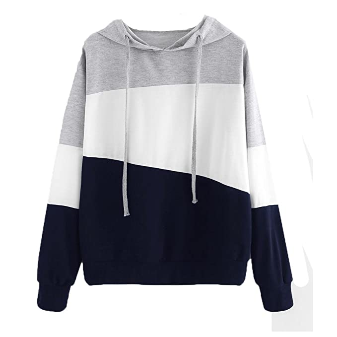 Amlaiworld Sweatshirts Herbst Frauen bunt Flickwerk Kapuzenpulli Damen  locker Langarmshirts Sport Bluse Mode Pullover Tops ( 4a7a6ad55d