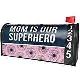 NEONBLOND Mom is Our Superhero Mother's Day Pink and Navy Flowers Magnetic Mailbox Cover Custom Numbers