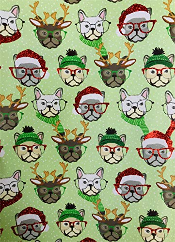 Holiday French Bulldogs in Winter Attire and Glasses with Glittery Accents 3 Christmas Gift Wrapping Sheets 24
