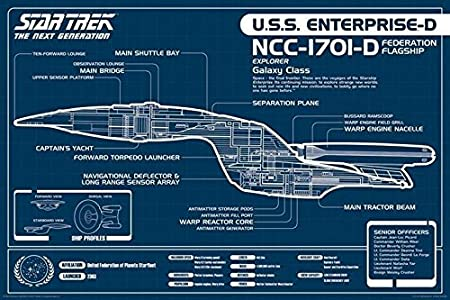 Star Trek Next Generation Uss Enterprise Blueprint Poster 6096 X