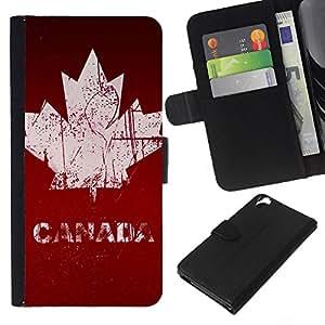 KLONGSHOP // Tirón de la caja Cartera de cuero con ranuras para tarjetas - Canadá Maple Leaf - HTC Desire 820 //