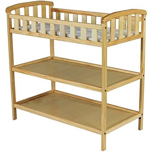 Dream on Me - Emily Changing Table - Natural - Nursery Room - Nursery Furniture - Traditional Design in a Solid Pine Wood Construction - 2 Shelves - Non-toxic - Emily Dresser