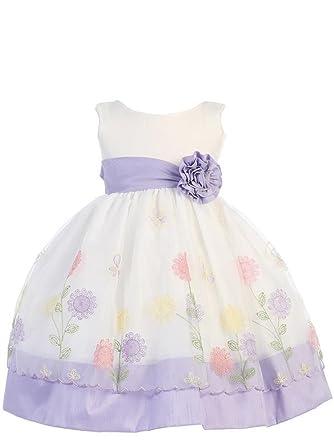f9ab73e854 Amazon.com  Lito Girls Poly Silk Trimmed Organza Flower Girl Spring Dress  2T-6  Clothing