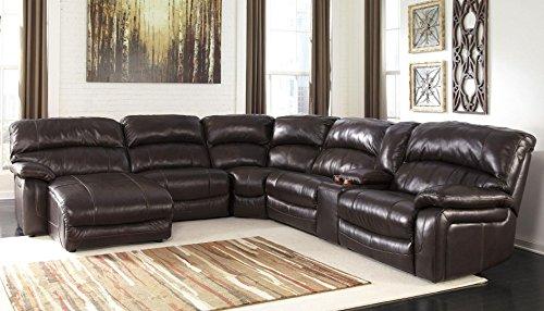 Damacio U98200-79-46-77-19-57-62 6-Piece Sectional Sofa with Left Arm Facing Power Chaise Armless Chair Wedge Armless Recliner Console and Right Arm Facing Power Recliner in Dark Brown