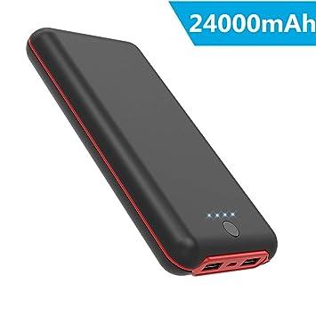 Batería Externa 24000 mAh, 4 LED Indicadores Power Bank (Doble Puerto, Doble 5V/2.1A), Carga Rápida Cargador Portátil Movil para Samsung Huawei Xiaomi ...