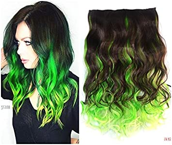 Amazon Com Dark Brown Mix Green Two Colors Ombre Hair Extension
