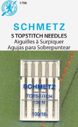 SCHMETZ Topstitch (130 N) Sewing Machine Needles - Carded - Size 100/16 (Needles Sewing Schmetz 100)