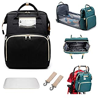 TeeBetter Travel Bassinet Foldable Baby Bed Portable Folding Crib Diaper Bag Multifunctional Large Capacity Folding Crib Backpack Mummy Bag Changing Station with Mattress (Black)