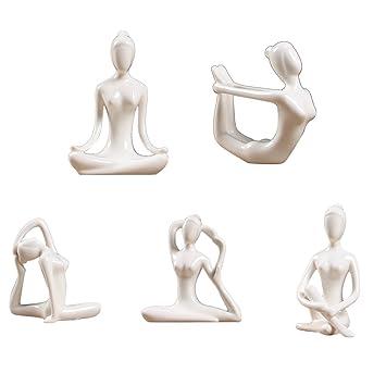 SET 5 Piezas De Cerámica Postura Yoga Figura Estatuas ...
