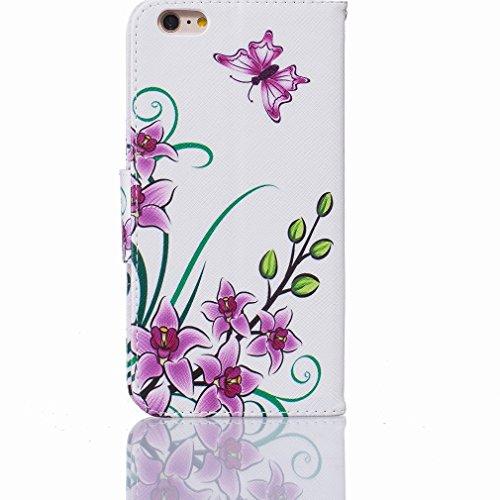 Cover iPhone 6s Plus Custodia, Ougger Floral Portafoglio Card Slot PU Pelle Magnetico Stand Silicone Flip Bumper Protettivo Cover Case Custodia per Apple iPhone 6s Plus Plus (5.5)