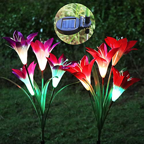 Lily Lamp Light - Solar Garden Stake Lights, ZALALOVA 2 Pack Solar Flower Lights Outdoor Multicolor Changing Waterproof LED with 8 Solar Lily Flowers Lamps for Garden Lawn Patio Yard Path Backyard (Purple and Red)