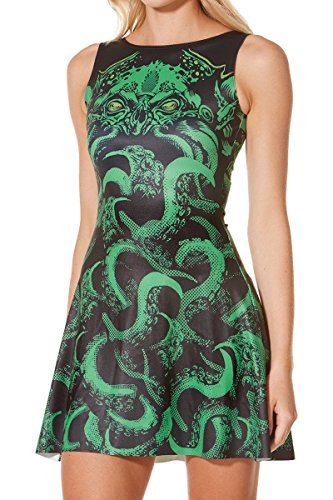 Mosszra Women Octopus Monster Print Knee-length Pleated Skater Dress (Lady Gaga Meat Dress Costume For Sale)