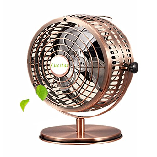 Lucstar Retro USB Fans Personal Vintage Table Desk Art Decoration for Office Home Bedroom Business Gift, Quiet Design 6Inch - Small Copper Mailbox